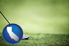 california map icon and a golf ball and a golf club on a golf course