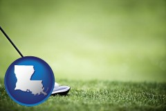 louisiana map icon and a golf ball and a golf club on a golf course