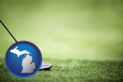 michigan map icon and a golf ball and a golf club on a golf course