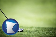 minnesota map icon and a golf ball and a golf club on a golf course