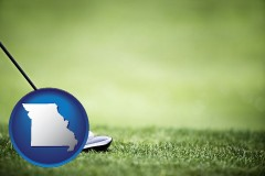 missouri map icon and a golf ball and a golf club on a golf course