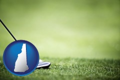 new-hampshire map icon and a golf ball and a golf club on a golf course