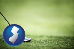 new-jersey map icon and a golf ball and a golf club on a golf course