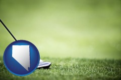 nevada map icon and a golf ball and a golf club on a golf course