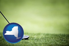 new-york map icon and a golf ball and a golf club on a golf course