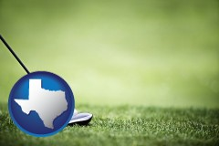 texas map icon and a golf ball and a golf club on a golf course