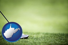 west-virginia map icon and a golf ball and a golf club on a golf course