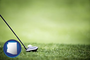 a golf ball and a golf club on a golf course - with Arizona icon
