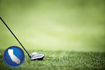 a golf ball and a golf club on a golf course - with California icon