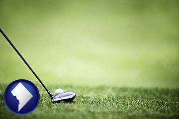 a golf ball and a golf club on a golf course - with Washington, DC icon