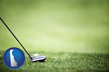 a golf ball and a golf club on a golf course - with Delaware icon