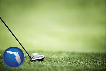 a golf ball and a golf club on a golf course - with Florida icon