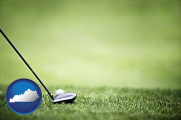 a golf ball and a golf club on a golf course - with Kentucky icon