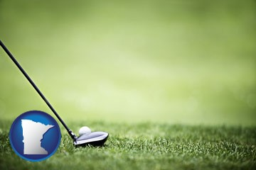 a golf ball and a golf club on a golf course - with Minnesota icon