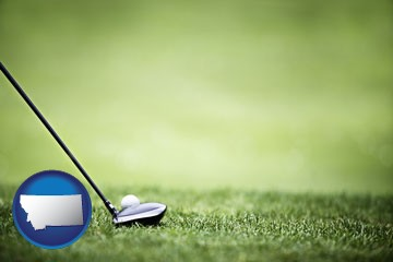 a golf ball and a golf club on a golf course - with Montana icon