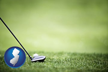 a golf ball and a golf club on a golf course - with New Jersey icon