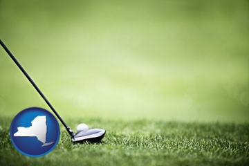 a golf ball and a golf club on a golf course - with New York icon