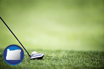 a golf ball and a golf club on a golf course - with Oregon icon