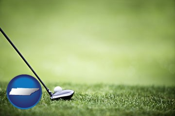 a golf ball and a golf club on a golf course - with Tennessee icon