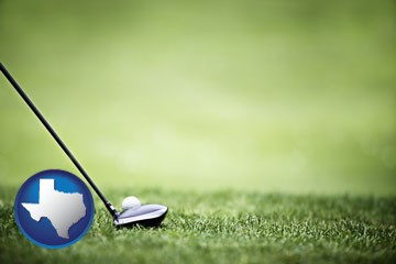 a golf ball and a golf club on a golf course - with Texas icon