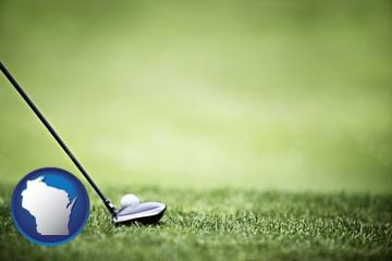 a golf ball and a golf club on a golf course - with Wisconsin icon